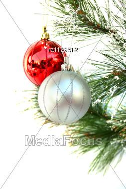 Christmas Colorful Balls Hanging On Fir Tree Stock Photo