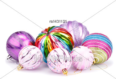 Christmas Colorful Balls Isolated On White Background Stock Photo