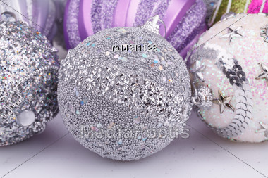Christmas Colorful Balls On Gray Background Stock Photo