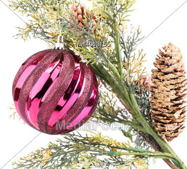 Christmas Decoration With Ball And Cones Isolated On White Background Stock Photo