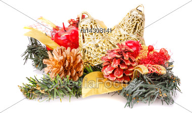 Christmas Decoration With Bells, Cones Isolated On White Background Stock Photo