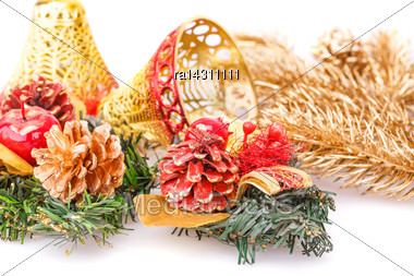 Christmas Decoration With Bells,cones On White Background Stock Photo