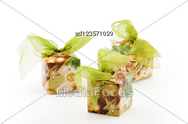Christmas Decoration, Boxes With Green Ribbon Stock Photo