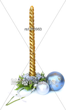 Christmas Decoration And Candle Stock Photo