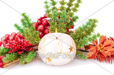 Christmas Decoration With Candle Isolated On White Background Stock Photo