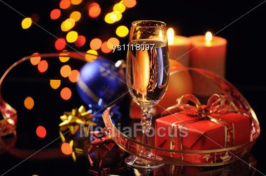 Christmas Decoration With Candles Stock Photo