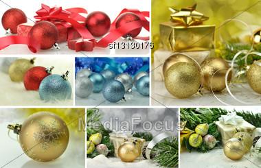 Christmas Decoration Collage Stock Photo