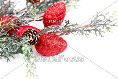 Christmas Decoration With Cones Isolated On White Background Stock Photo