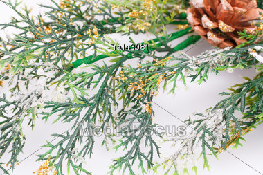 Christmas Decoration With Fir-tree Branch And Cones Stock Photo