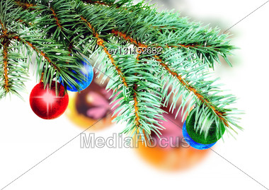Christmas Decoration-glass Ball On Fir Branches.Isolated Stock Photo