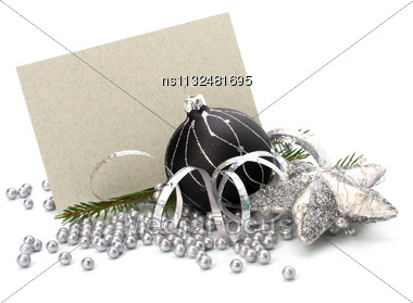 Christmas Decoration With Greeting Card Isolated On White Background Stock Photo