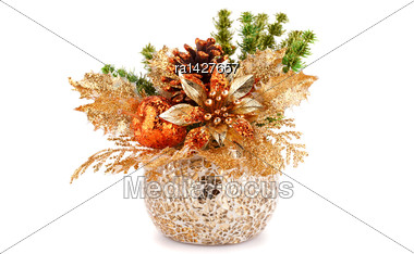 Christmas Decoration In Vase Isolated On White Background Stock Photo
