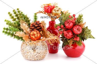 Christmas Decoration In Vases Isolated On White Background Stock Photo