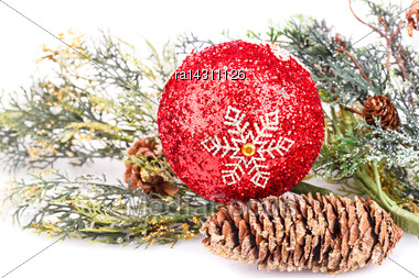 Christmas Decoration Isolated On White Background Stock Photo