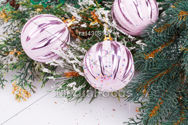 Christmas Decoration With Pink Balls And Fir-tree Branch Stock Photo