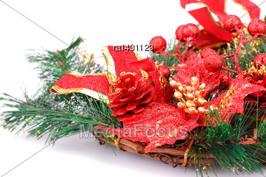 Christmas Decoration With Red Cone, Leaves, Ribbon And Fir-tree Branch Stock Photo