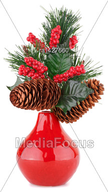 Christmas Decoration In Red Vase Isolated On White Background Stock Photo