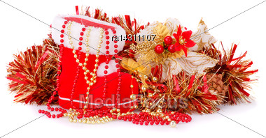 Christmas Decoration With Santa's Red Boot, Garland, Beads Isolated On White Background Stock Photo