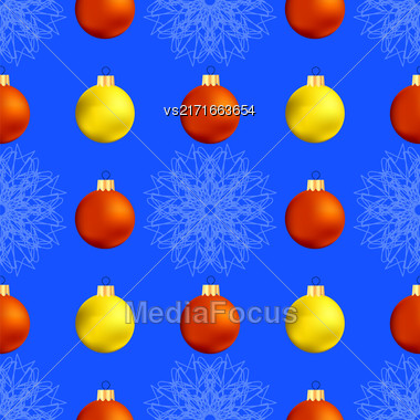Christmas Decoration Seamless Snowflake Pattern On Blue Background Stock Photo