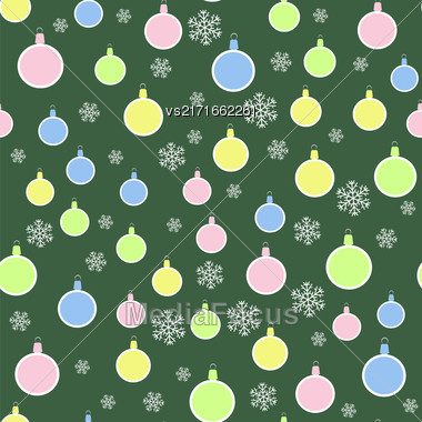 Christmas Decoration Seamless Snowflake Pattern On Green Background Stock Photo
