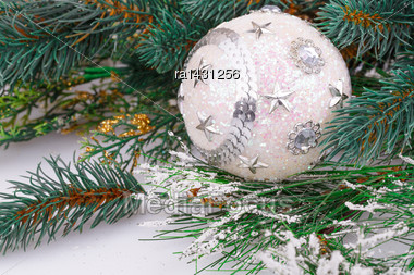 Christmas Decoration With White Ball And Fir-tree Branch Stock Photo