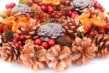 Christmas Decoration With Cones Closeup Picture Stock Photo