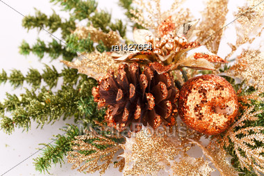 Christmas Decoration With Pine-cone And Apple Stock Photo