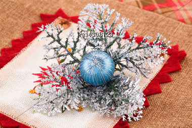 Christmas Decorationon Colorful Canvas Background Stock Photo