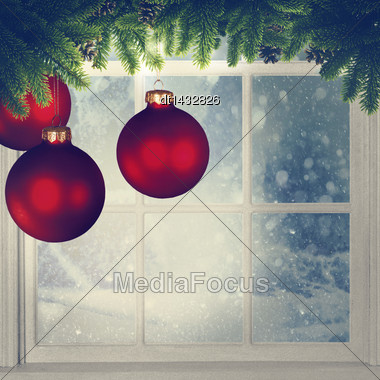 Christmas Decorations Against Window, Grungy Holidays Backgrounds Stock Photo