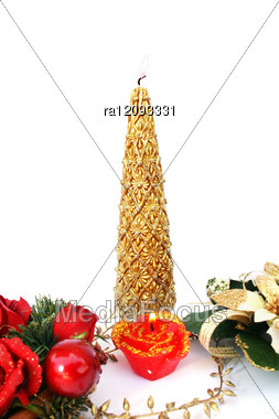 Christmas Decorations And Candles Stock Photo