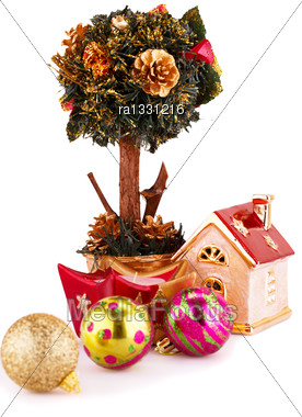 Christmas Decorations Isolated On White Background Stock Photo