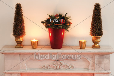 Christmas Decorations On Mantel Stock Photo