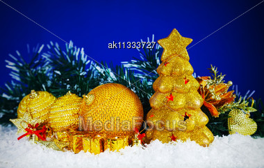 Christmas Decorative Balls Against Blue Background Stock Photo
