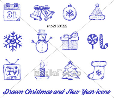 Christmas Drawn. Vector Illustration On White Background Stock Photo