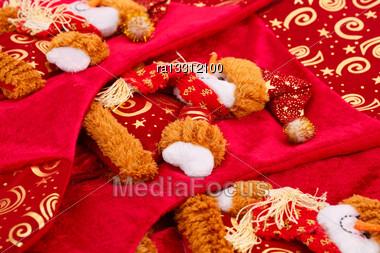 Christmas Fabric Patten Closeup Image Stock Photo