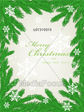 Christmas Frame Made Of Fir Branches And Snowflakes Stock Photo
