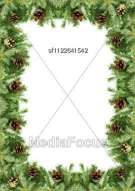 Christmas Framework With Snow Stock Photo