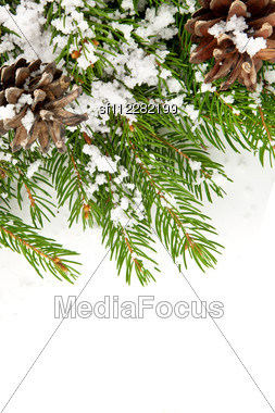 Christmas Framework With Snow Stock Photo
