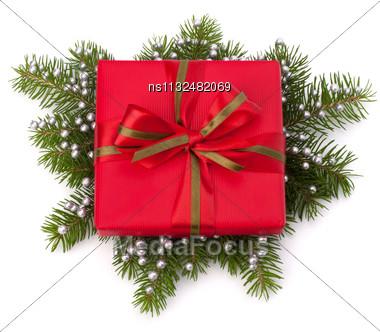 Christmas Gift Box Isolated On White Background Stock Photo