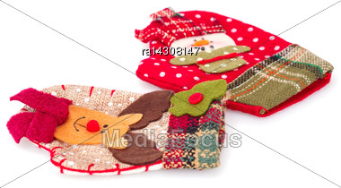 Christmas Gift Gloves Isolated On White Background Stock Photo