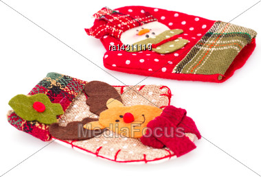 Christmas Gift Gloves Isolated On White Background Stock Photo