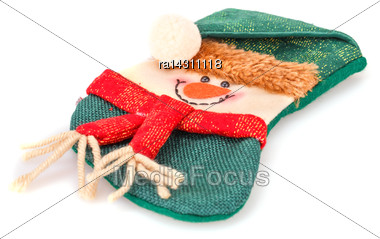 Christmas Gift Sock Isolated On White Background Stock Photo