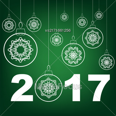 Christmas Glass Ball Winter Banner On Green Background Stock Photo
