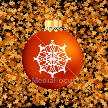 Christmas GlassRed Ball On Dark Starry Background Stock Photo