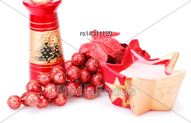 Christmas Grapes Decoration And Candles Isolated On White Background Stock Photo