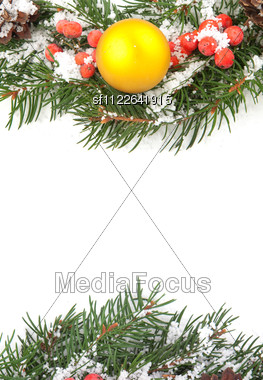 Christmas Green Framework With Cones And Holly Berry Stock Photo