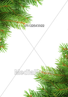 Christmas Green Framework Isolated On Green Background Stock Photo