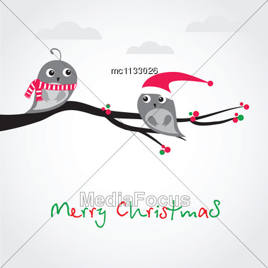 Christmas Greeting Card With Birds On The Tree Branch Stock Photo