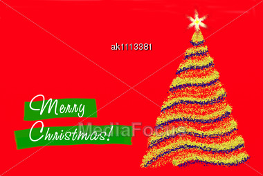 Christmas Greeting On The Red Background Stock Photo