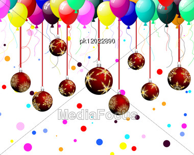 Christmas (New Year) Balls On Festive Background For Design Use. Vector Illustration. Stock Photo